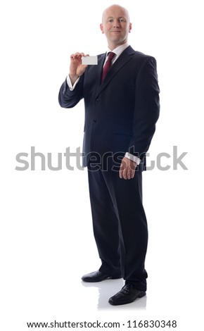 businessman showing a empty business card with copy space to write - stock photo