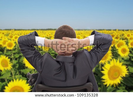 Businessman sitting on a chair with his hands behind his head was cast in a field of sunflowers - A symbol of wealth and prosperity, success - stock photo