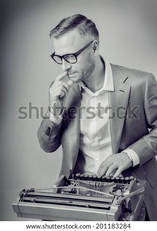 businessman  typewriters - stock photo