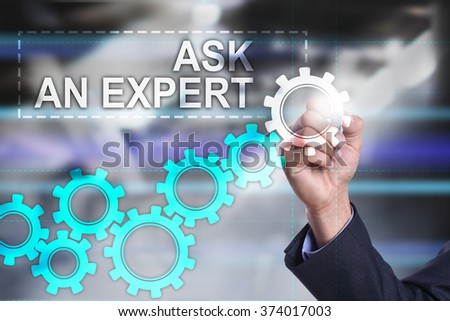 businessman using modern computer and drawing visual concept. ask an expert.