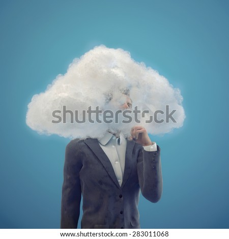 Businessman with head in the clouds, 3d illustration - stock photo