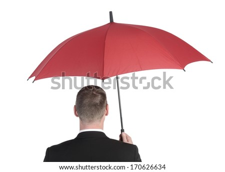 businessman with red umbrella, rear view