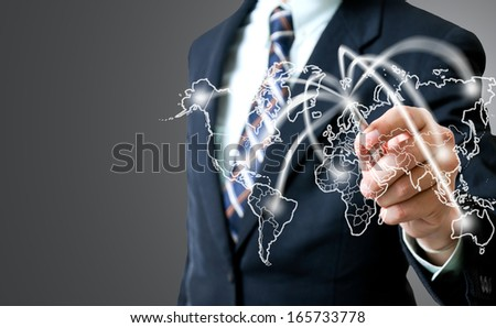 Businessman writting aircraft  for travel - stock photo