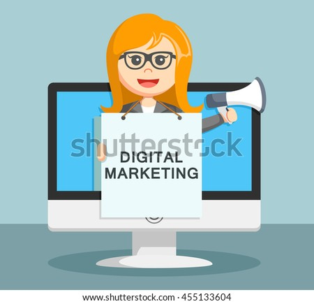 businesswoman digital marketing show in the display by holding the loudspeaker - stock photo