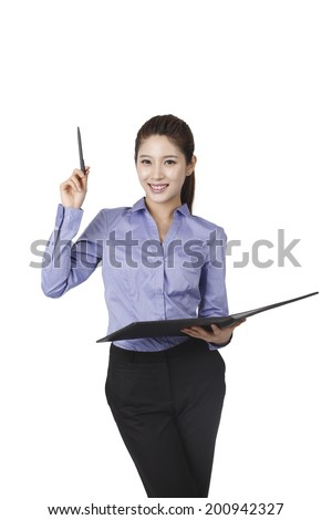 Businesswoman holding a pen and a portfolio