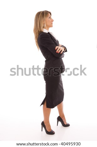 businesswoman looking away (isolated on white) - stock photo