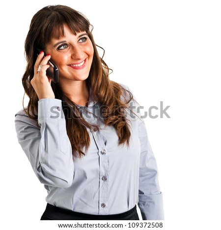 Businesswoman on the phone isolated against white - stock photo