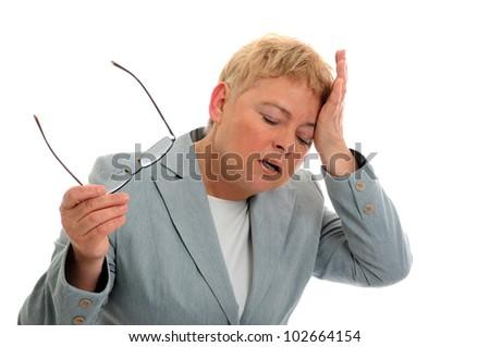 businesswoman with headache - stock photo
