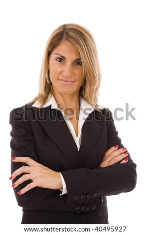 Businesswoman with her arms crossed isolated on white