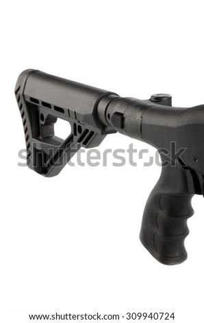 Butt of a gun isolated on white background - stock photo