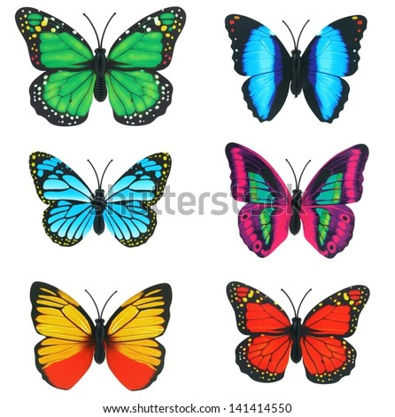butterfly invents on white background - stock photo