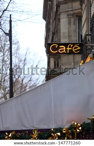 """""""Cafe"""" sign in Paris - stock photo"""