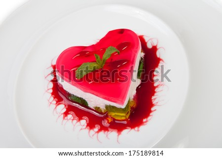 Cake heart shape on plate