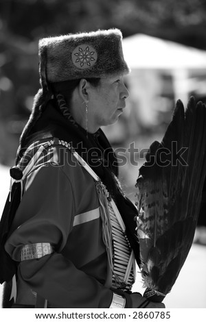 3-11-07.  Cal State Long Beach Annual Pow Wow. Elder Pow Wow dancer.  Black and white image