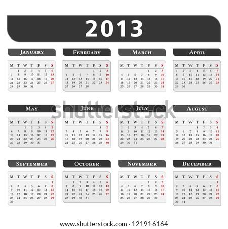 2013 Calendar - stock photo