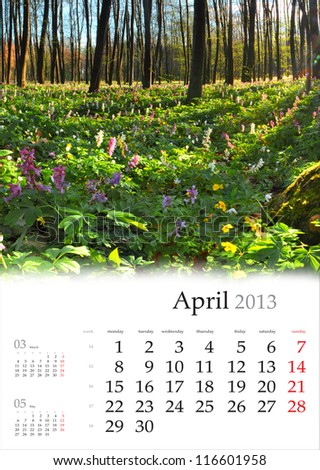 2013 Calendar. April. Beautiful spring landscape in the forest - stock photo