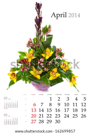 2014 Calendar. April. Bright flower bouquet on white background
