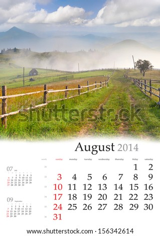 2014 Calendar. August. Beautiful summer landscape in the mountain village. - stock photo