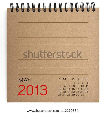 2013 Calendar brown Texture Paper - stock photo