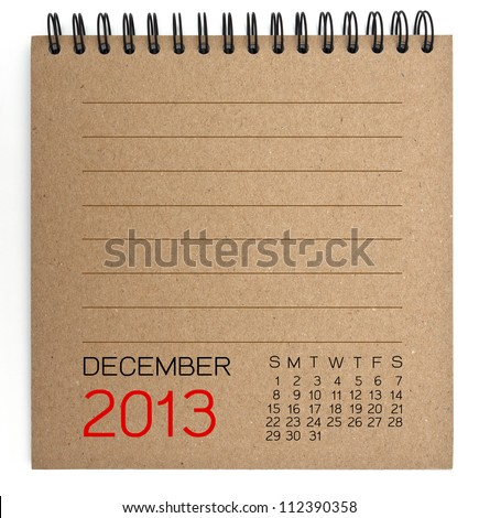 2013 Calendar brown Texture Paper - stock photo