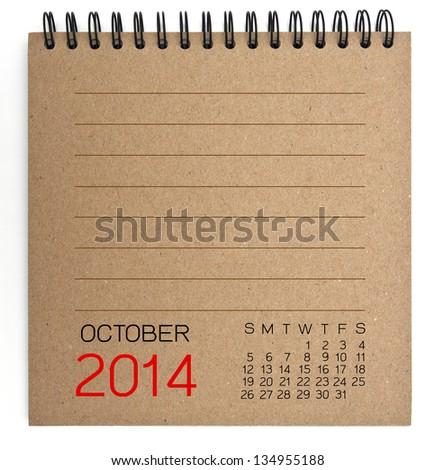 2014 Calendar brown Texture Paper - stock photo