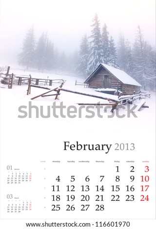 2013 Calendar. February. Beautiful winter landscape in the mountains. - stock photo