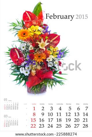 2015 Calendar. February.Bright flower bouquet on white background - stock photo