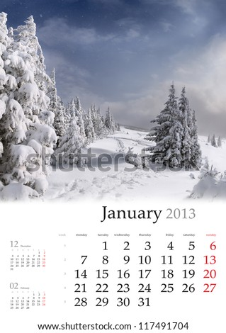 2013 Calendar. January. Beautiful winter landscape in the mountains. - stock photo