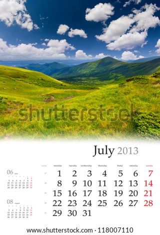 2013 Calendar. July. Beautiful summer landscape in the mountains - stock photo