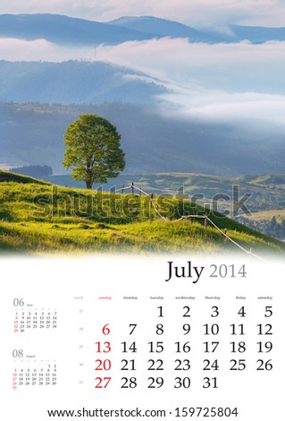 2014 Calendar. July. Beautiful summer landscape in the mountains.