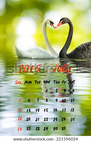 2015 Calendar.July.Image of two swans on the water - stock photo