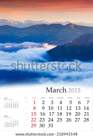 2015 Calendar. March. Foggy morning in the mountains. - stock photo