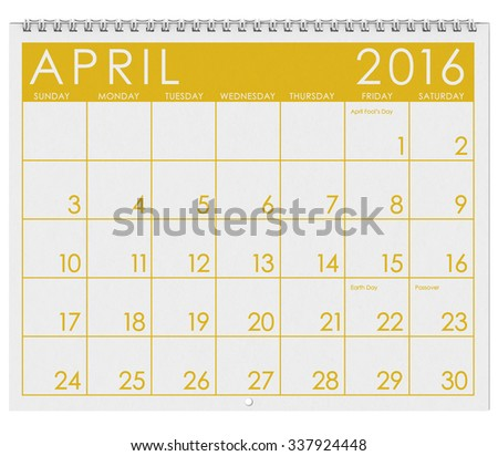 2016 Calendar: Month Of April With April Fool's Day - stock photo