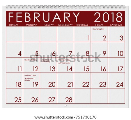 2018 Calendar Month February Valentines Day Stock Photo 751730170 ...