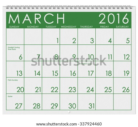 2016 Calendar: Month Of March With St. Patrick's Day - stock photo