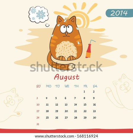 2014 calendar, monthly calendar template with cats for August - stock photo