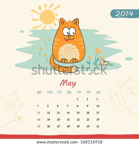 2014 calendar, monthly calendar template with cats for May  - stock photo