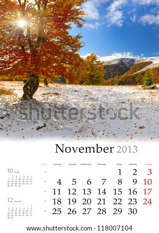 2013 Calendar. November. Beautiful autumn landscape in the mountains. - stock photo