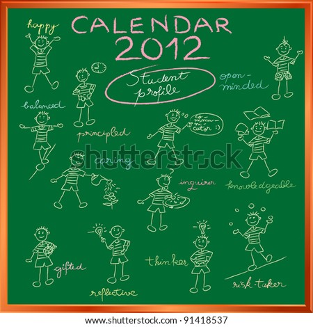2012 calendar on a blackboard with the student profile for international schools, cover design - stock photo
