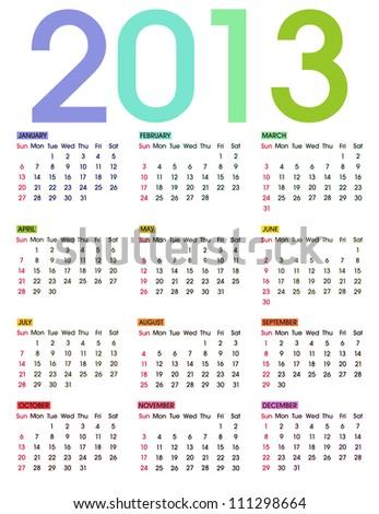 2013 Calendar on a white background. Week starts with Sunday. - stock photo