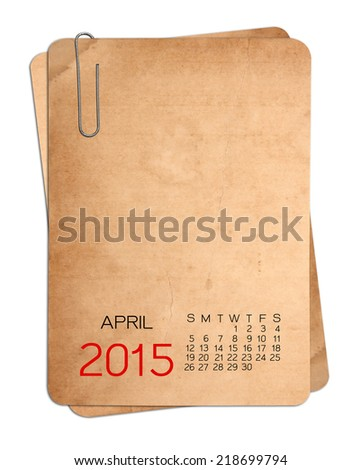 2015 Calendar on the Empty old photo with Paper clip - stock photo