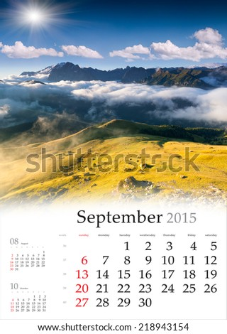 2015 Calendar. September. Beautiful autumn landscape in the mountains. - stock photo