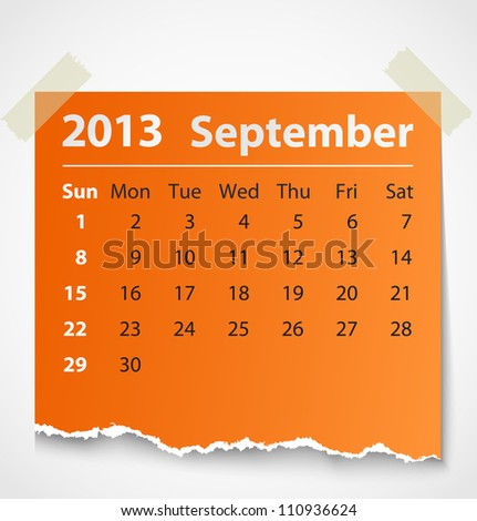 2013 calendar september colorful torn paper. Vector illustration - stock photo