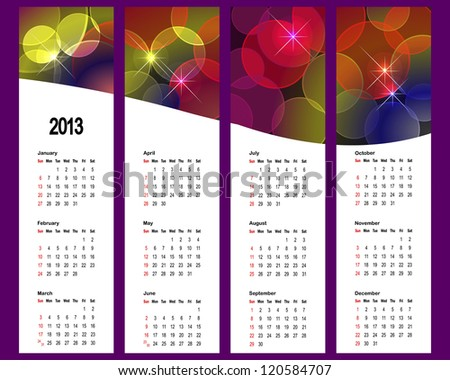 2013 Calendar set with vertical banners. American style.  Raster version.