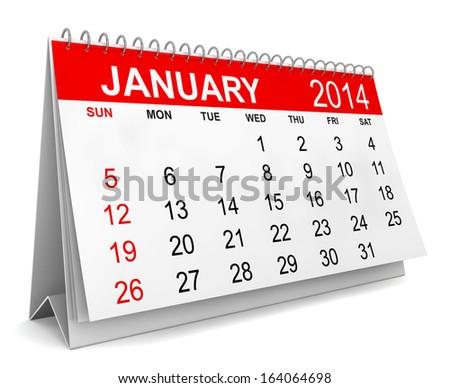 2014 Calendar. Week starts with sunday. 3d illustration on white background - stock photo