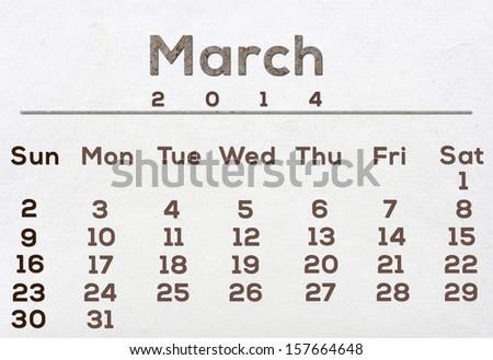 2014 Calendar White Mulberry Paper Texture.