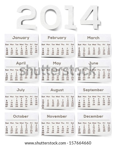 2014 Calendar White Texture Mulberry Paper.