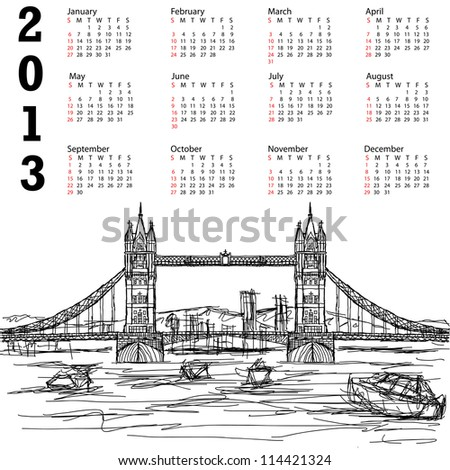 2013 calendar with hand drawn illustration of famous tourist destination tower bridge of london. - stock photo