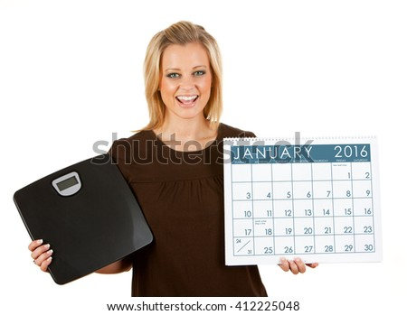 2016 Calendar: Woman Excited To Diet In January - stock photo