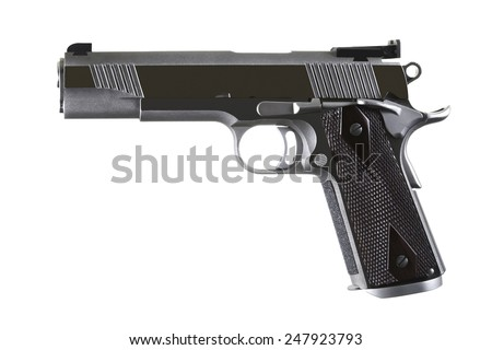 45 Caliber custom match grade stainless steel automatic pistol gun firearm for sport or personal protection or defense isolated on white background